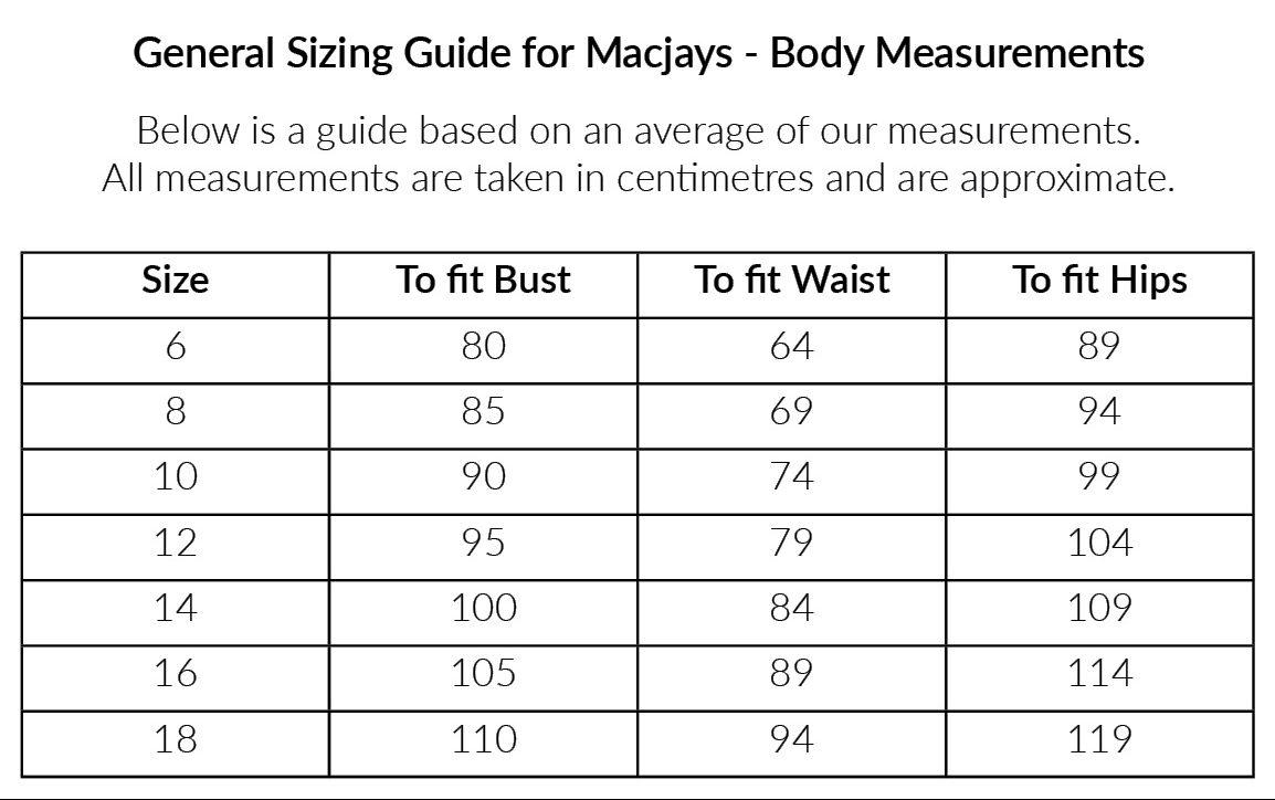 Macjays Size Chart